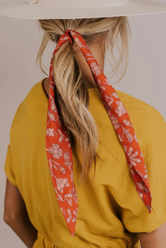 Red Floral Hair Scarf | ROOLEE