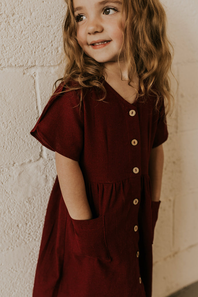 Full Front Button Up Pocket Dress in Burgundy | ROOLEE