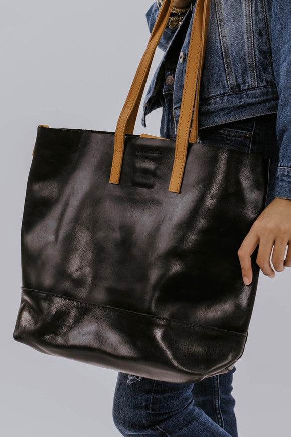 Black and Cognac Crossbody Tote | ROOLEE