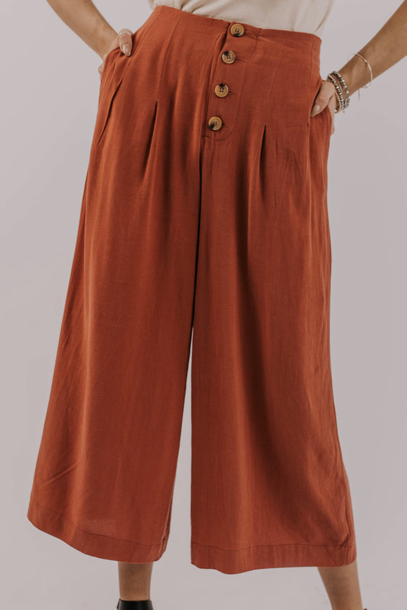 Wide Leg Button Pant | ROOLEE
