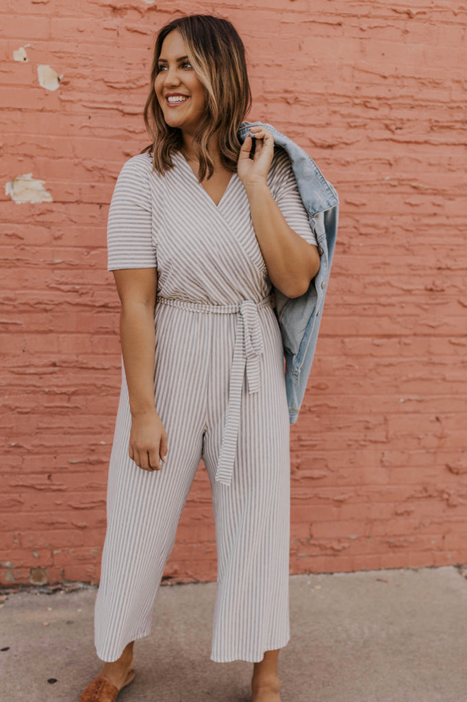 Grey Striped Jumpsuit | ROOLEE
