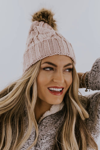 Thick Cable Knit Beanie | ROOLEE