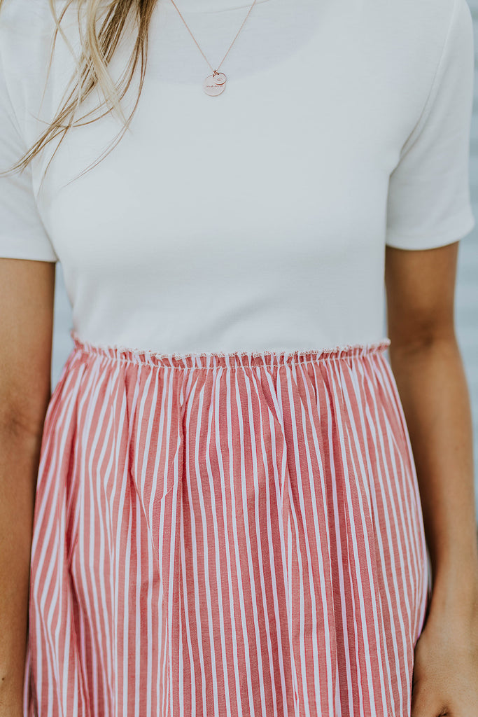 Red + White Pinstripe Dress | ROOLEE