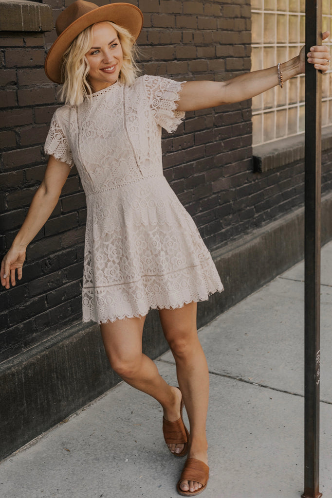 Tan Lace Dress | ROOLEE