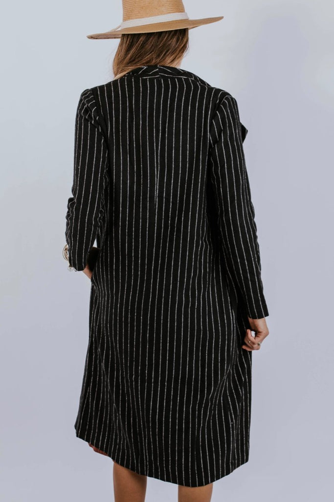 Black/White Pinstripe Overcoat for Women | ROOLEE