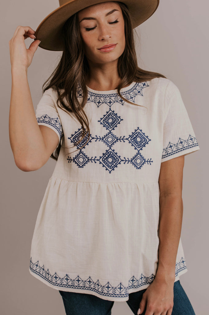 Embroidered Babydoll Top | ROOLEE