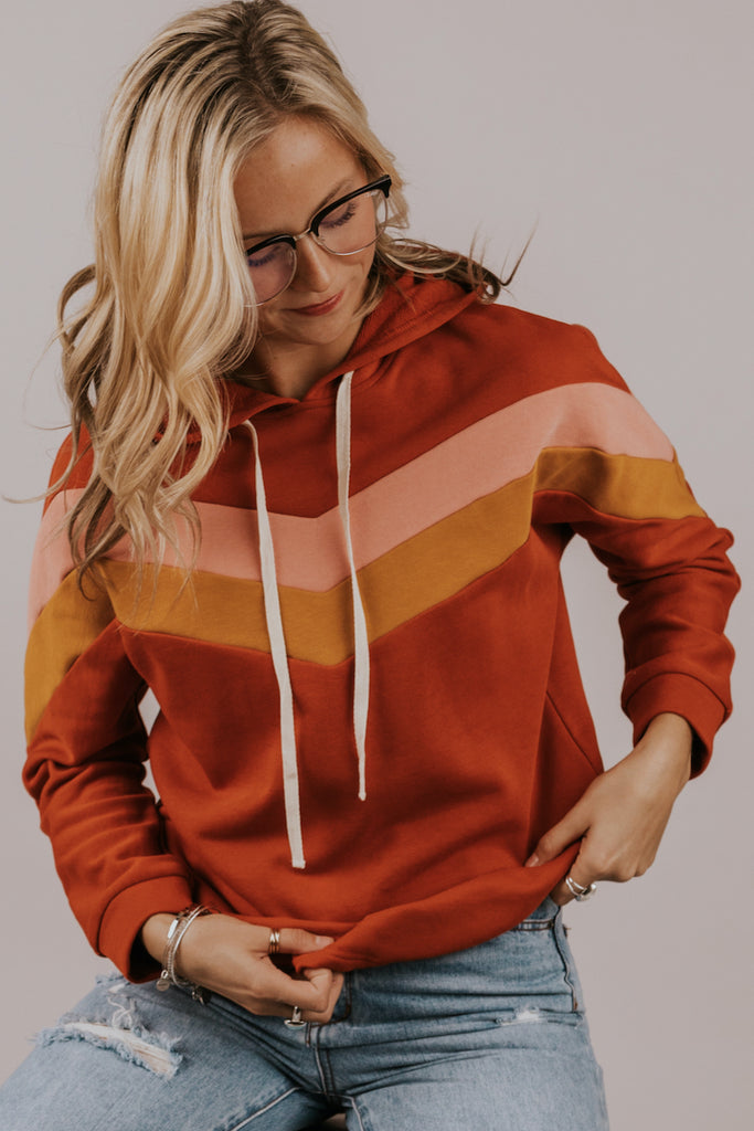Pink and Red Hooded Sweater | ROOLEE