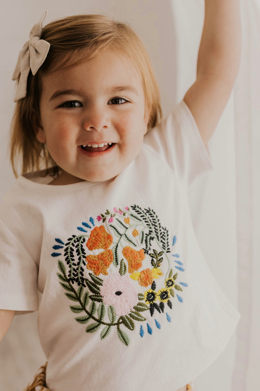 Spring/Summer Floral Embroidered Girls Shirt | ROOLEE