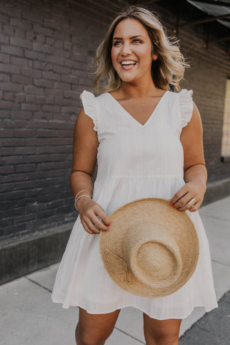 White Ruffle Sleeve Dress | ROOLEE
