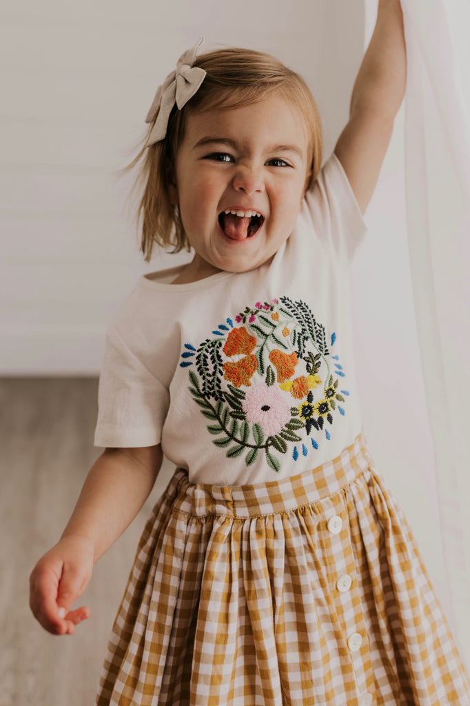 Girls Embroidered Tee | ROOLEE