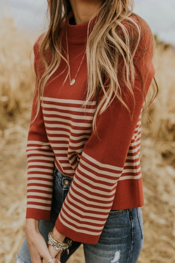 Denton Stripe Sweater in Crimson | ROOLEE
