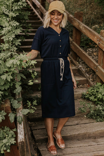 Navy Drawstring Dress | ROOLEE