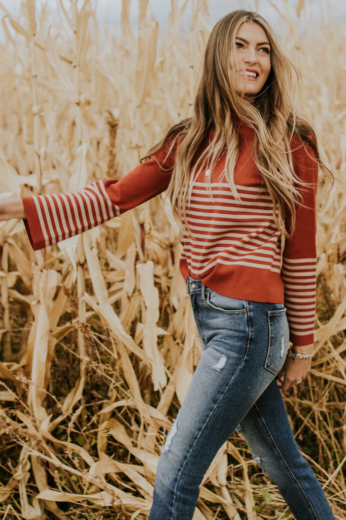 Long Sleeve Sweater with Retro Stripes | ROOLEE