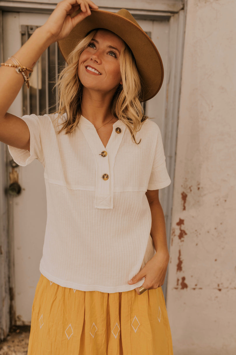 White Button Front Tee | ROOLEE