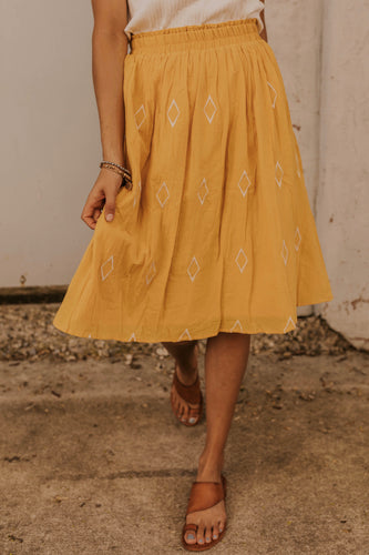 Mustard Diamond Detail Skirt | ROOLEE