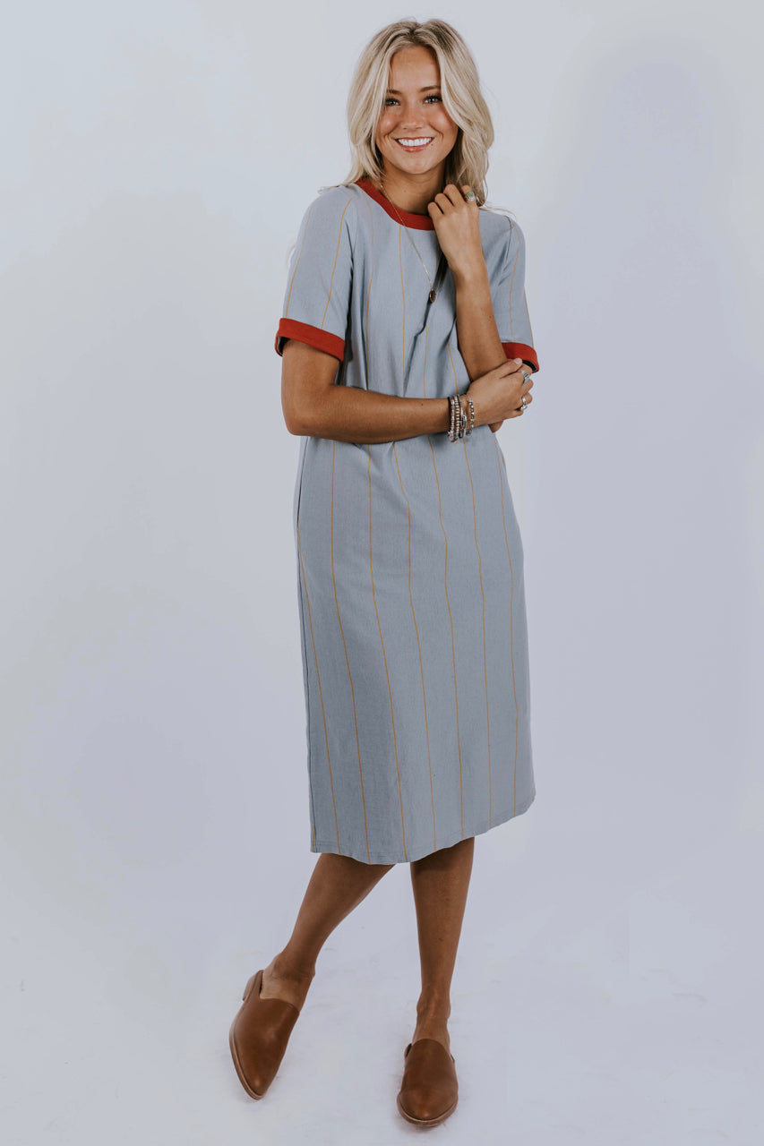 Blue Stripe Dress with Contrast | ROOLEE