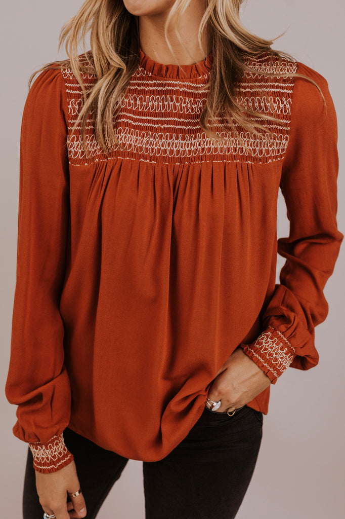 Embroidered Smock Top | ROOLEE
