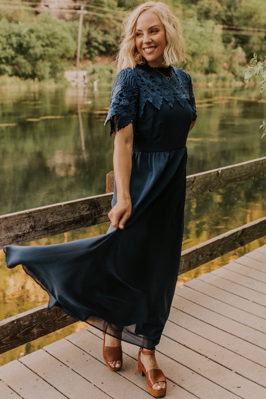 Navy Bridesmaid Lace Dress | ROOLEE