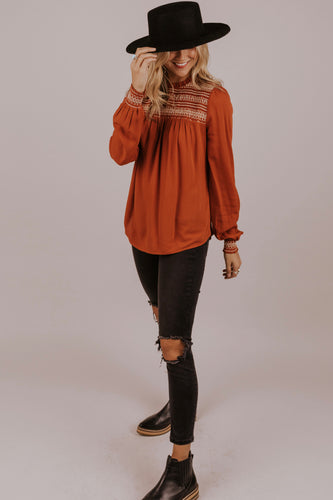 Rust Blouse for Fall | ROOLEE