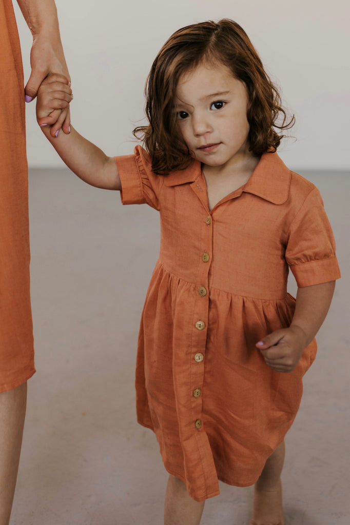 Coral Button Dress for Little Girls | ROOLEE