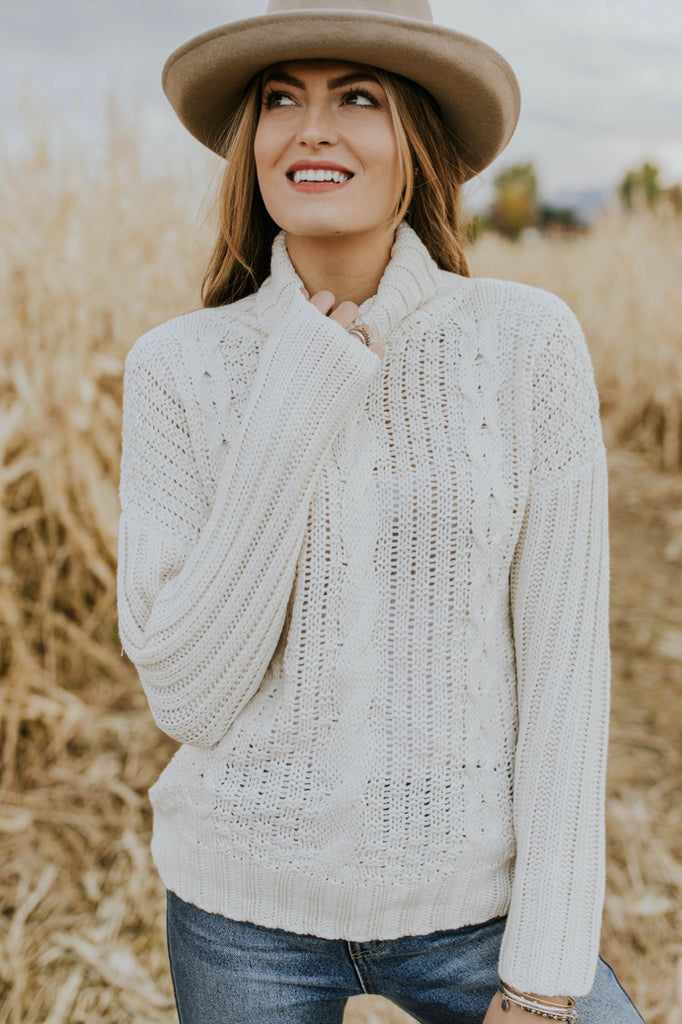 Aurora Cable Knit Sweater in Cream | ROOLEE