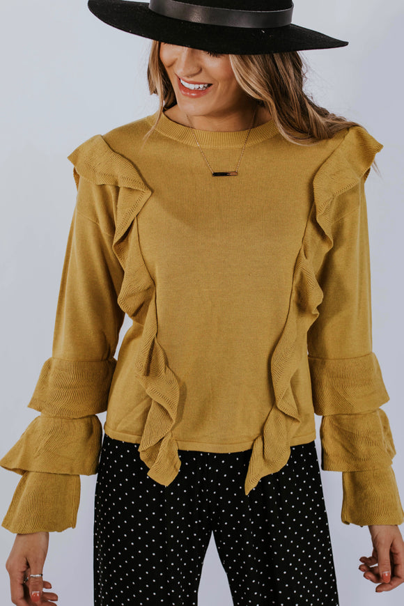 Athena Ruffle Sweater | ROOLEE