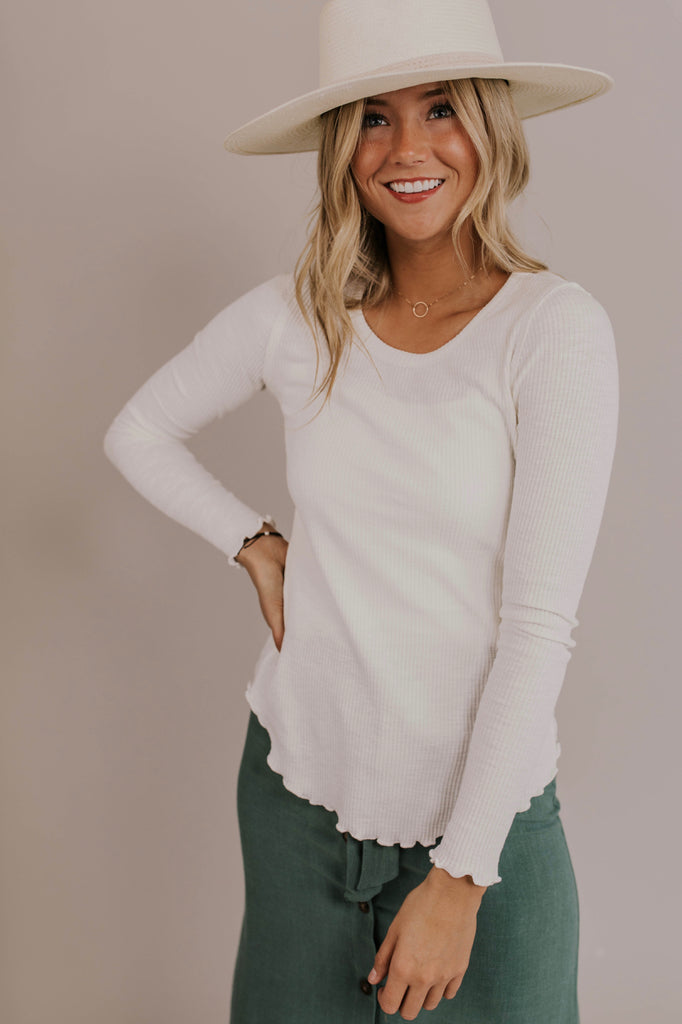 Long Sleeve Ribbed Top | ROOLEE