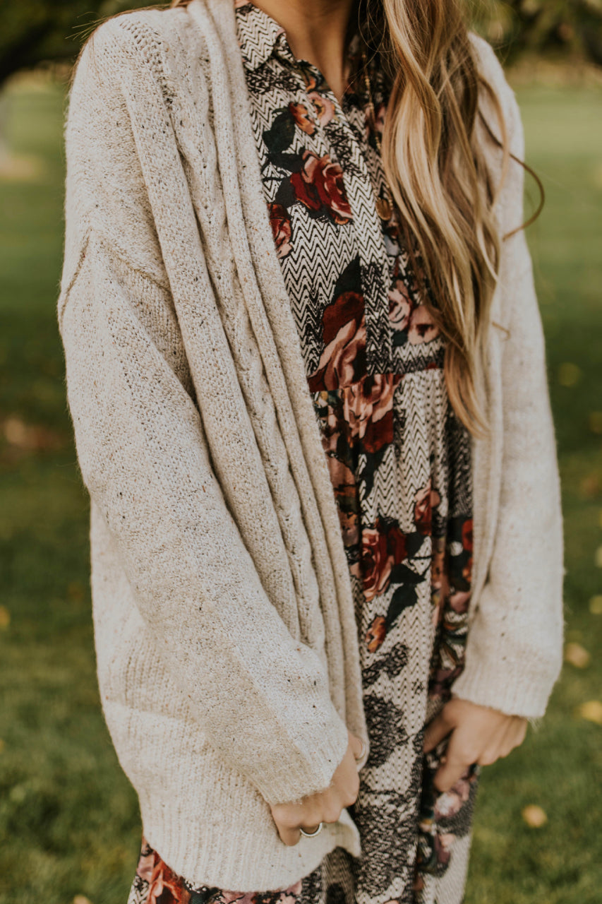 Neutral Knit Cardigan Sweater Outfit | ROOLEE