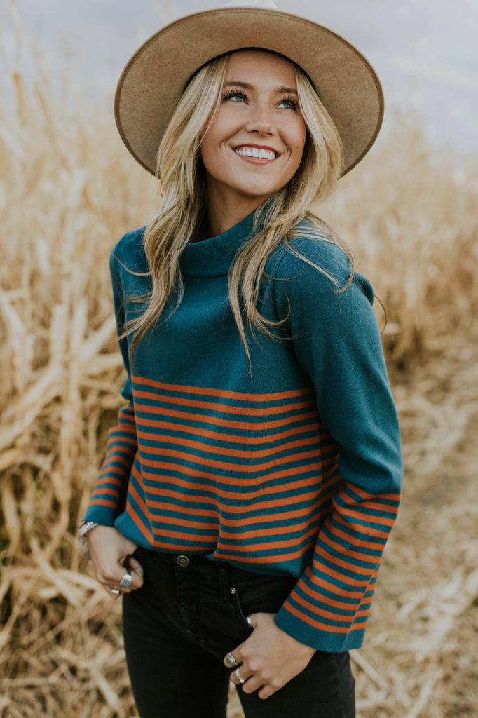 Teal and Orange Stripe Sweater | ROOLEE