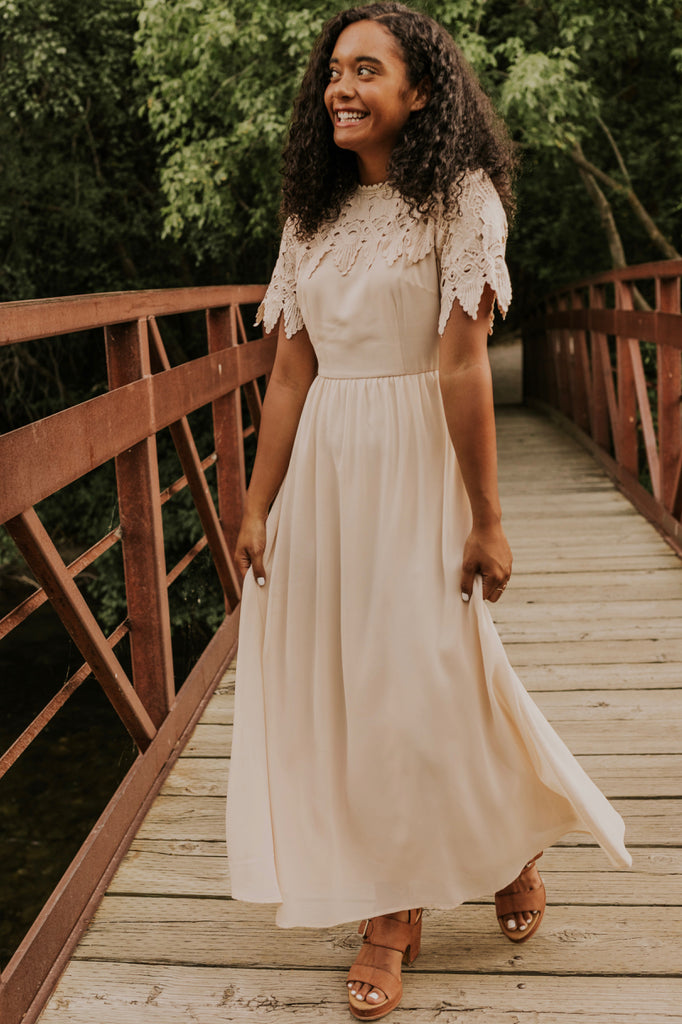 Cream Lace Detail Maxi Dress | ROOLEE