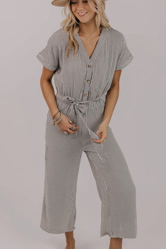 Stripe Short Sleeve Jumpsuit | ROOLEE