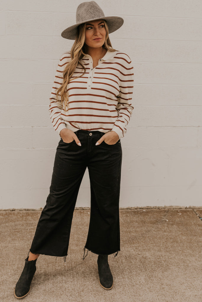 Henley Stripe Top Long Sleeve | ROOLEE