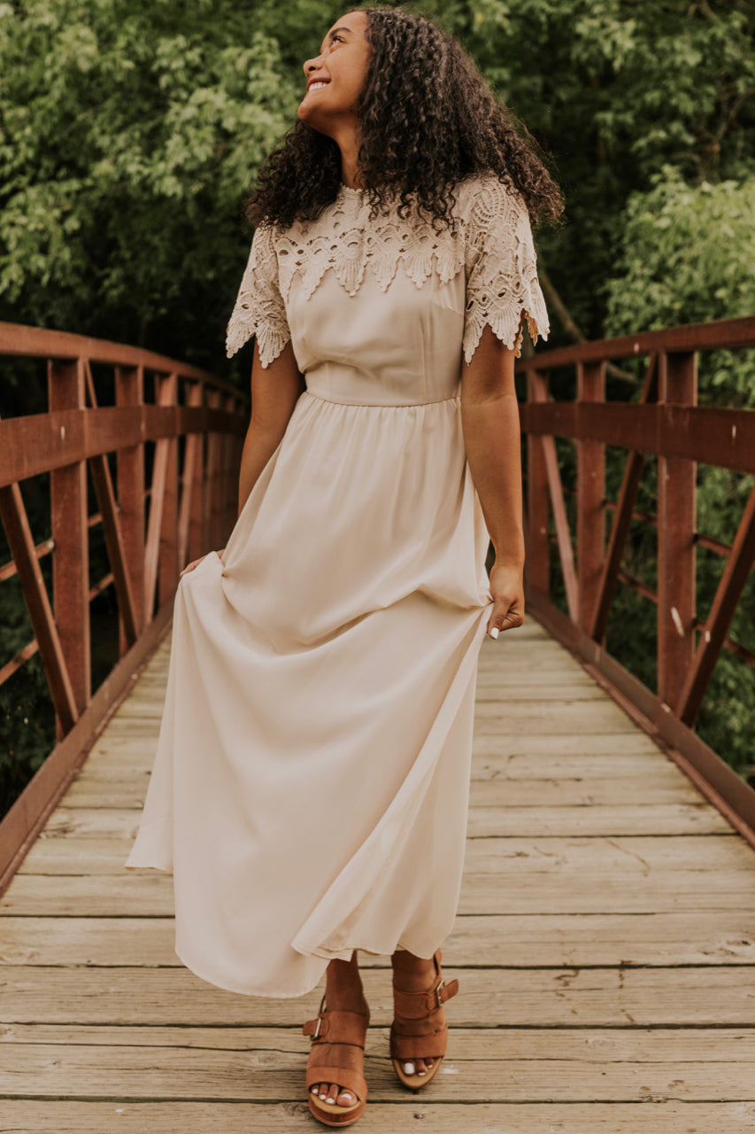 Cream Floor Length Dress | ROOLEE