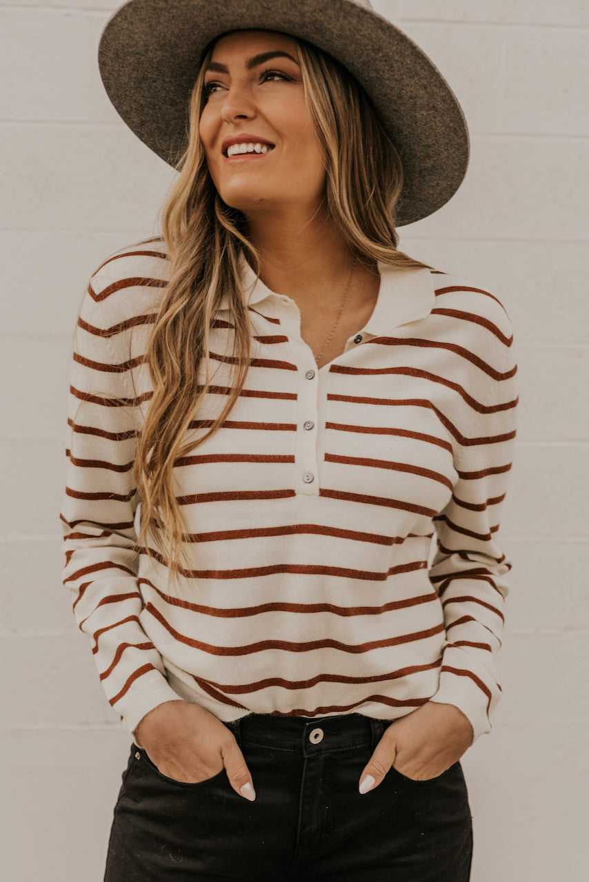 Brown Stripe Sweater | ROOLEE