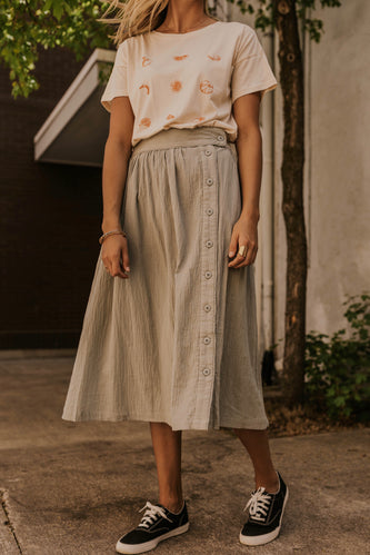 Sage Button Skirt | ROOLEE