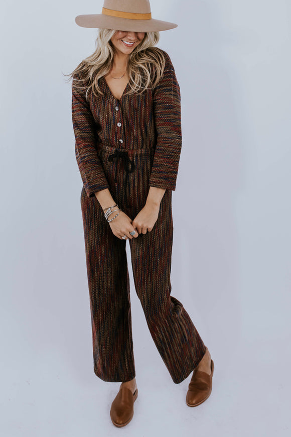 Long Sleeve Textured Jumpsuit Outfit | ROOLEE