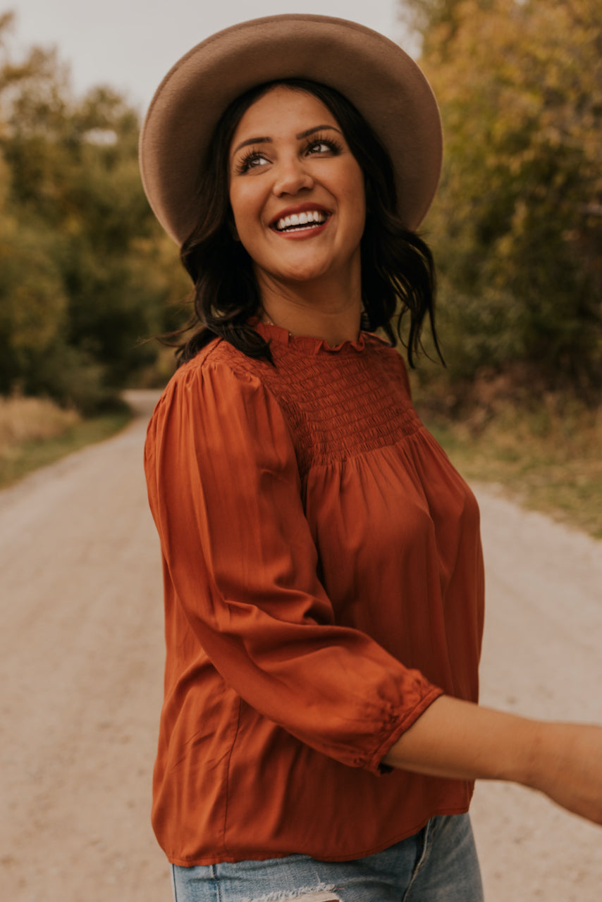 Smocked Top in Rust | ROOLEE