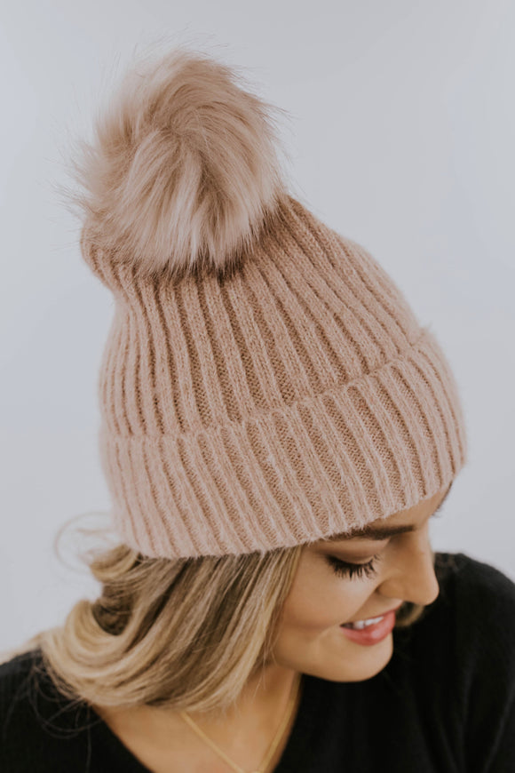 Pink Faux Fur Beanie | ROOLEE