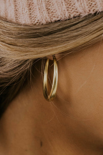 Brushed Metallic Hoop Earring in Gold | ROOLEE Jewelry