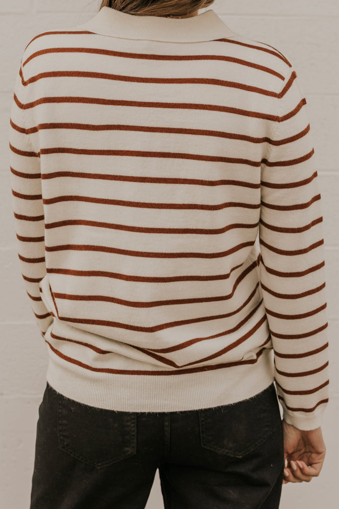 Long Sleeve Brown Stripe Henley | ROOLEE