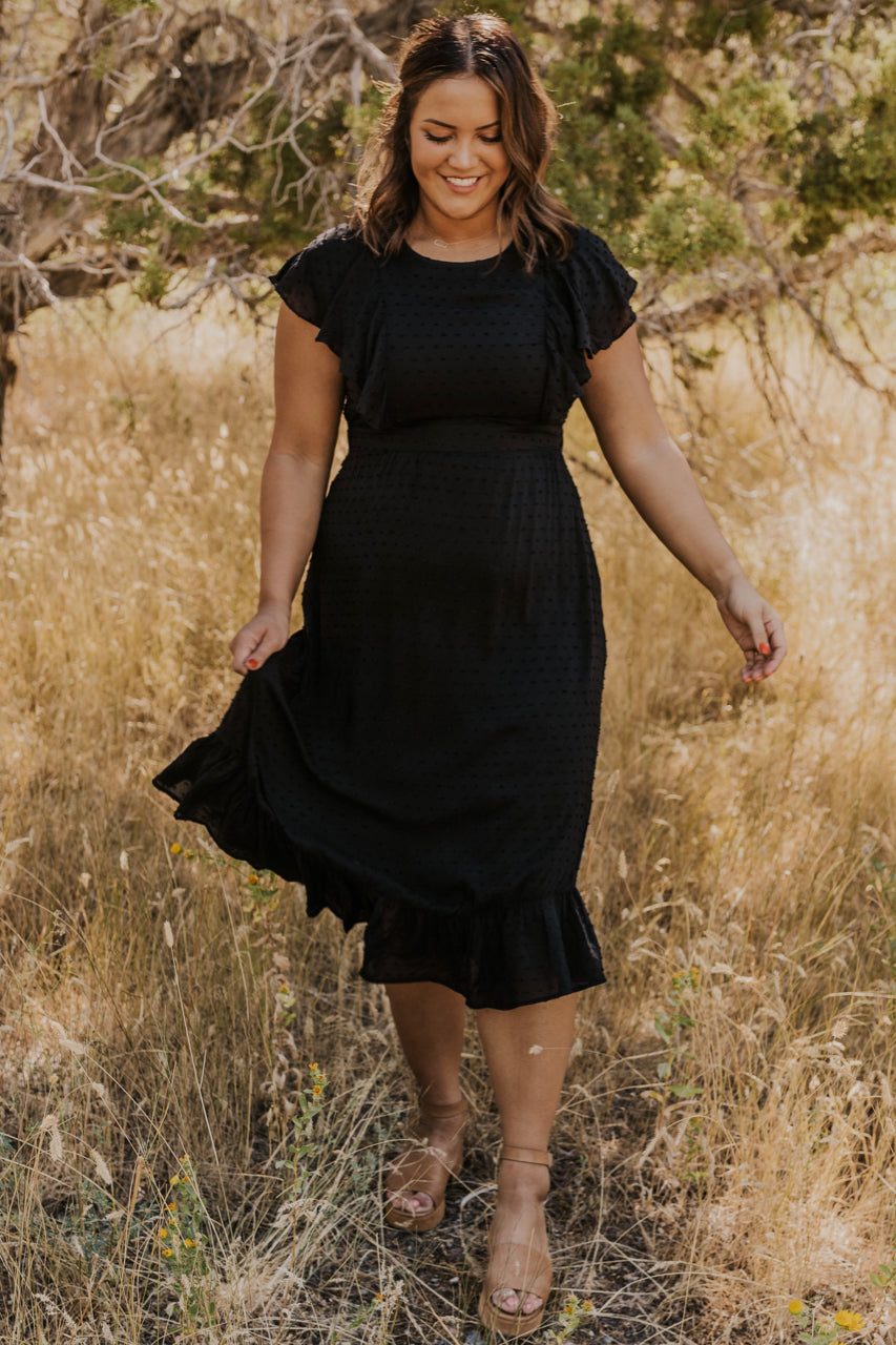 Black Ruffle Dress | ROOLEE
