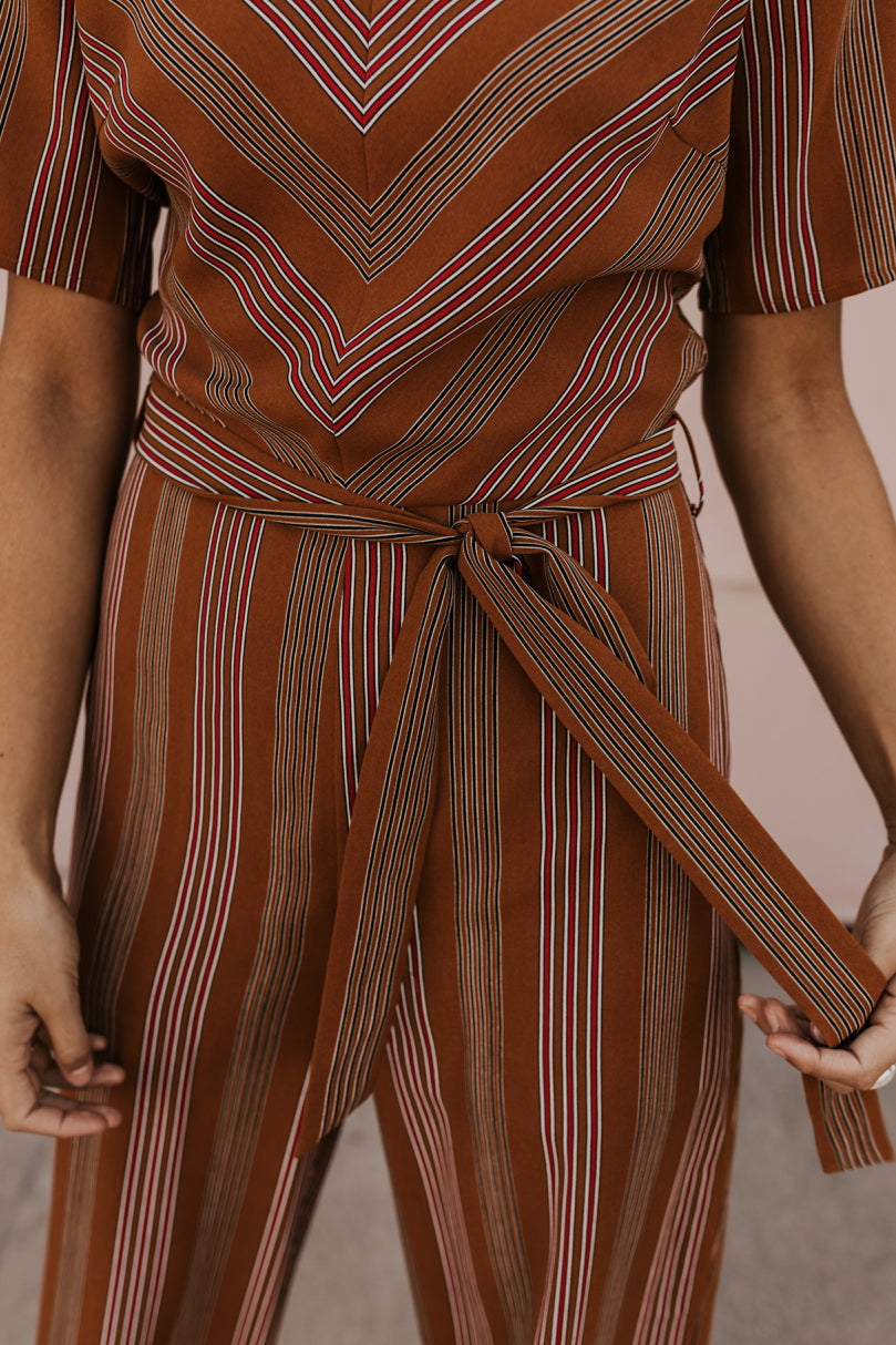 Mustard Striped Jumpsuit | ROOLEE