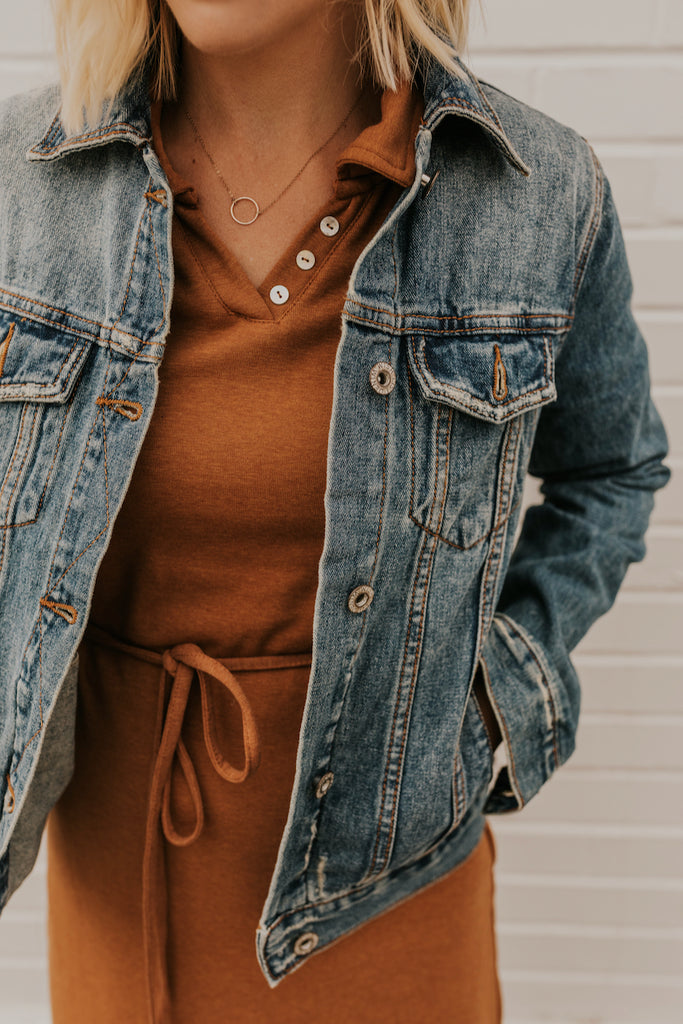 Distressed Button Up Denim Jacket | ROOLEE