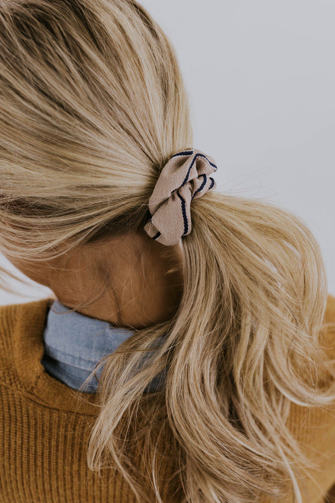 Striped Taupe Scrunchie | ROOLEE