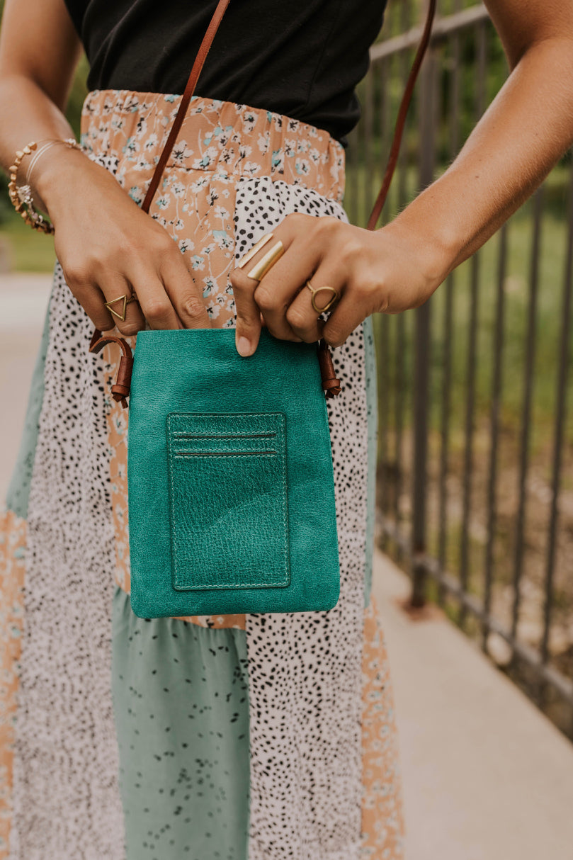 Blue Leather Crossbody Bag | ROOLEE