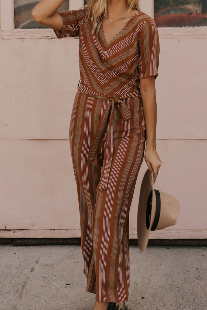 Stripe Jumpsuit with Belt | ROOLEE
