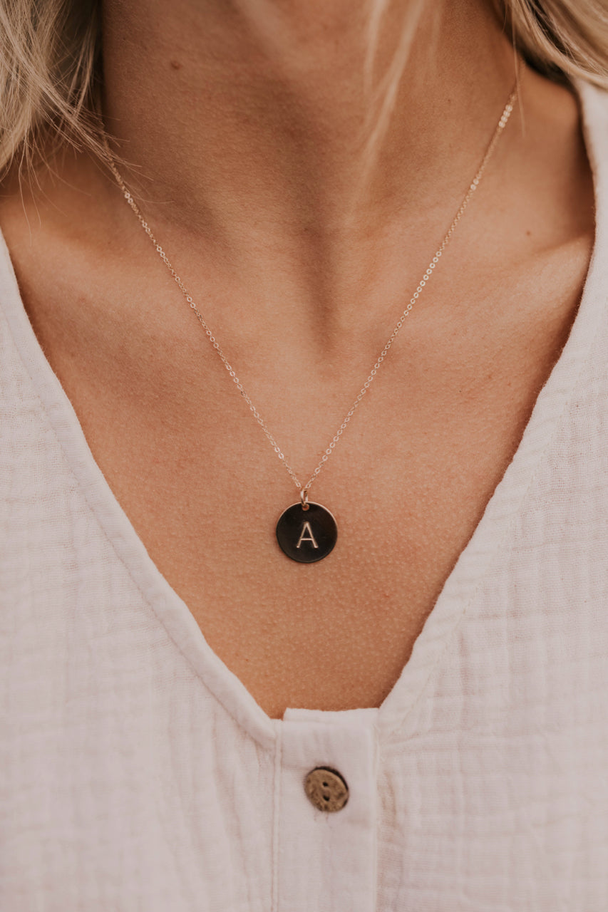 Simple Initial Necklace | ROOLEE