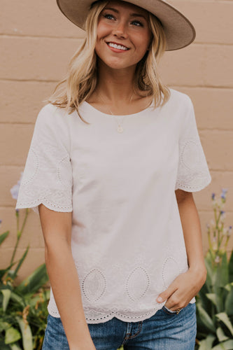 Cute White Eyelet Top for Summer | ROOLEE