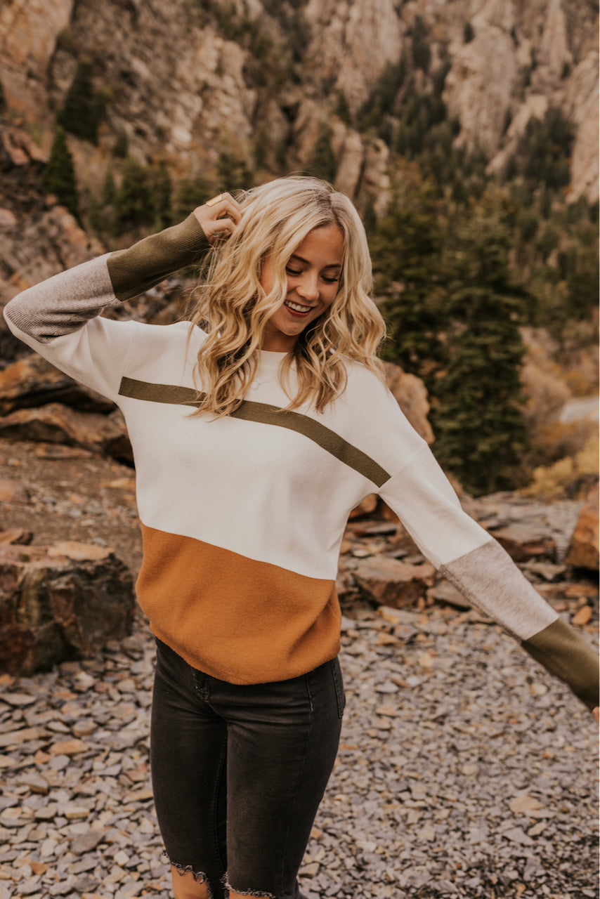 Two Tone Long Sleeve Knit Sweater | ROOLEE