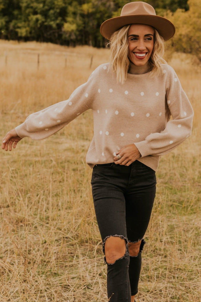 Neutral Polka Dot Cozy Winter Sweater | ROOLEE